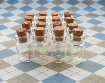 20 Mini glass bottles with corks 12x24mm