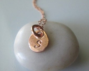 Rose gold disc necklace, initial necklace, rose gold necklace, rose gold disc, personalized necklace, rose gold jewelry, rose gold initial,