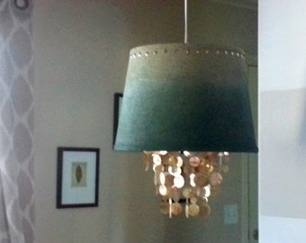 Capiz Shell Chandelier Ombre'  Painted Burlap Shade
