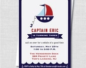 Nautical Sailboat Boy Birthday Party - Nautical Themed Party - Boy Birthday - Digital Design or Printed Invitations - FREE SHIPPING