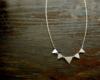 Sterling Silver Triangle Necklace Handmade // Bridal, Bridesmaid, Feminine, Delicate