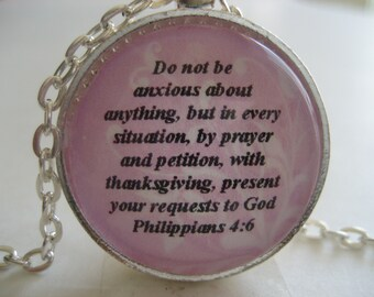 Scripture Necklace Bible Verse Philippians 4:6