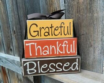 Grateful, Thankful, Blessed wood  blocks--thanksgiving blocks, fall, autumn