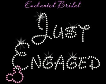 Disney Inspired Just Engaged With Dangling Mickey Rhinestone Transfer DIY Wedding Bling