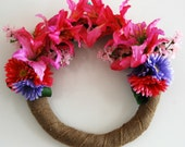 Pink Lilies and Gerberas Rustic Wreath