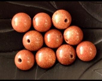 10 8mm Beautiful GOLD SAND STONE Beads