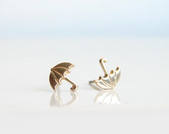Teeny Tiny Gold Umbrella Earrings. Simple Modern Jewelry by PetitBlue