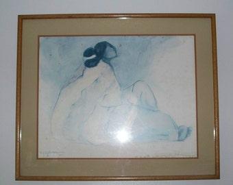 R. C. Gorman Original Pastel Drawing