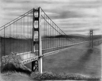 Graphite Pencil Drawing, Photo Realistic, Lg Golden Gate Bridge Print,  San Francisco, CA, Wall Hanging, Landmark  Architecture, Pacific