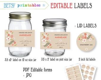 Labels for canning - Jar labels - Mason Jar lid labels - PDF editable & JPG -  Instant Download 211