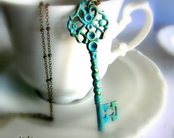 Skeleton Key necklace in blue and antique bronze christmas gift for her key to her heart romantic gift wrapped