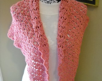 Triangle Scarf / Shawl with Scalloped Top Edge - Dusty Pink - Recycled/ Reclaimed Yarn