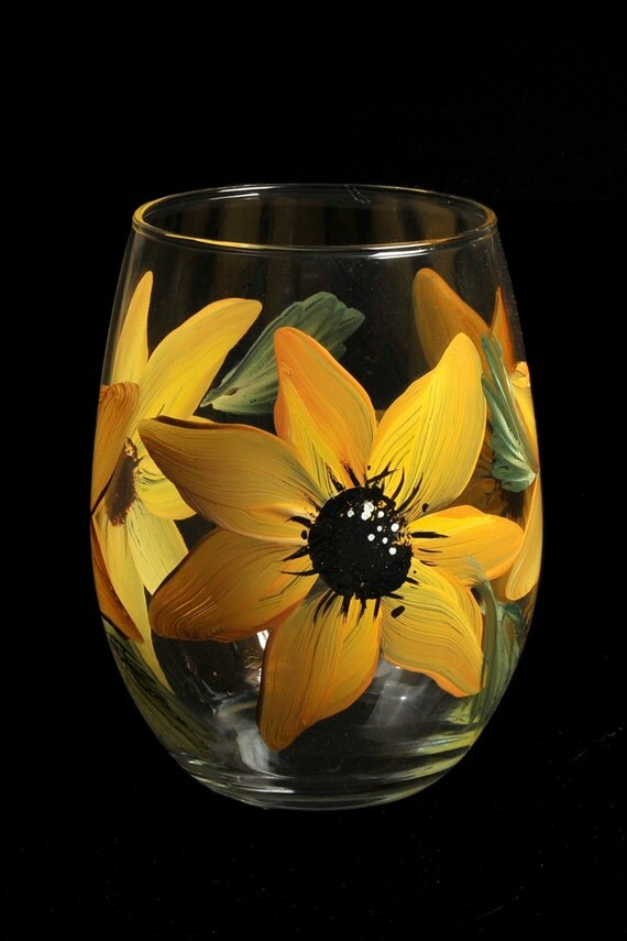 Hand painted stemless wine glasses ll for Painted stemless wine glasses