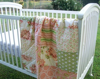 Baby Quilt Peach Coral Green Minky Crib Bedding Baby Girl Bedding
