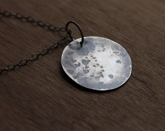 Sterling silver moon necklace, full moon necklace, handmade moon necklace, sterling moon jewelry, silver moon pendant, full moon