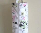 Plastic Grocery Bag Holder, Storage- Cute Owls on Tree Limb- Pink Green