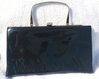 Vintage, Ande, Black Patent Leather Handbag Purse