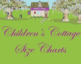 SIZE CHARTS for Children's Cottage-Caroline Bradlee Designs Custom Made Clothing