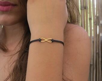 Infinity bracelet, Gold bracelet, Black cord bracelet, Gold infinity charm, Silk cord bracelet, Love infinity bracelet, Friendship bracelet