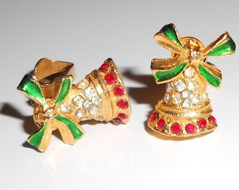 Vintage Christmas Bell earrings Rhinestones and enamel Holiday clip on earrings