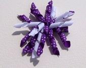 Purple & white dot Corker Hair Bow - 4 1/2 inch