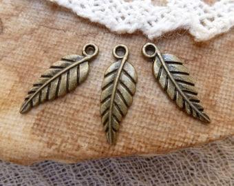 10x Leaf Charms, Antique Brass Necklace, Earring Pendants P49