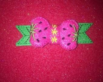 Pair of felt strawberry bows