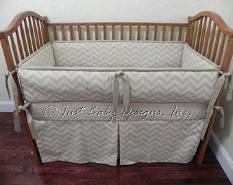 Baby Bedding Crib Bedding Set Keagan -  Neutral Baby Bedding, Boy Baby Bedding, Chevron Khaki Natural