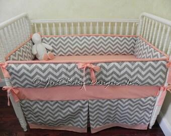 Custom Baby Bedding Set Zara -  Girl Baby Bedding,  Gray Chevron with Peach Baby Bedding, Coral Baby Bedding