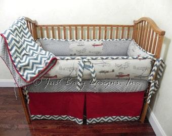 Custom Baby Bedding Set Harrison -  Airplane Baby Bedding, Boy Crib Bedding