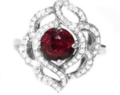 Cherry Red Tanzanian Spinel & Diamond 14K Ring