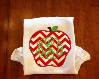 Back to School-Monogram Apple Applique for Back to School-back to school-kindergarten-pre-k-chevron apple-girls back to school shirt-