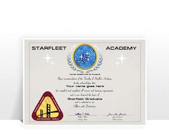 Star Trek Starfleet Academy Graduation Certificate - MANY SIZES - Custom Print Kids Room Sci-fi Film