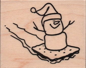 Sledding S'more Snowman Christmas Rubber Stamp - 889a