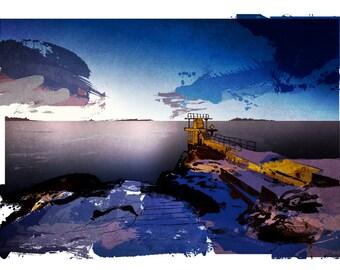 Blackrock Diving Tower, Galway Bay, Ireland art print, A4
