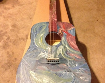 Abstract Acrylic Painted Acoustic Electric Slide Guitar -be sure to read description.