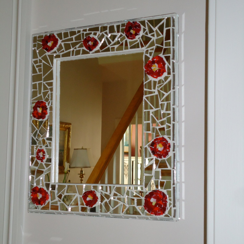 Decorative Mosaic Rose Mirror Wall Hanging