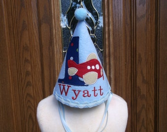 Boys First Birthday Party Hat - Blue Airplane Birthday Hat -  Free Personalization