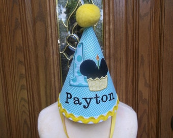 Boys First Birthday Party Hat - Blue Gingham Mickey Mouse Cupcake Hat   - Free Personalization -