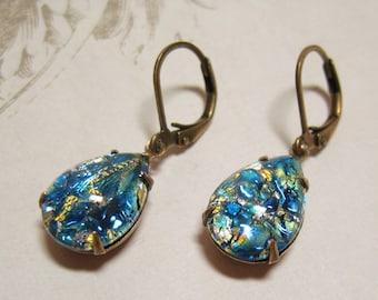 Blue Fire Opal Earrings Dangles Jewelry Glass Jewel Earrings Harlequin Glass Jewels Blue Earrings Mystical Fantasy Rhinestone Drops