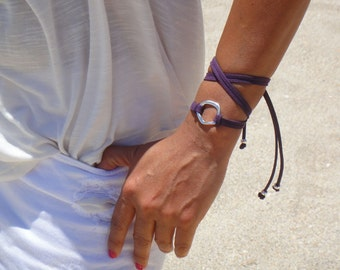 BOHO Small Silver Infinity Circle Triple Wrap Suede Bracelet / Necklace