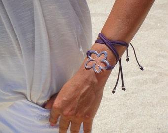 BOHO Silver Flower Double Wrap Suede Bracelet / Necklace