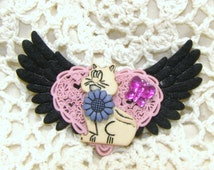 Black Winged With Pink Heart Filigree Back Ground With A Cat And Blue Flower And Pink Butterfly Hair Barrett, Hair Clip, Barrett