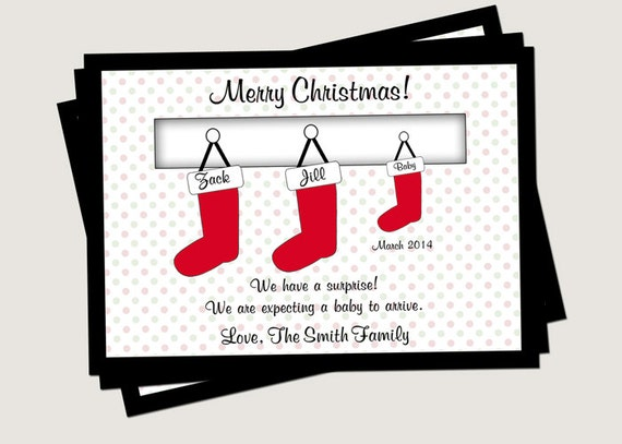 Christmas Card Pregnancy Announcement Family Stockings You