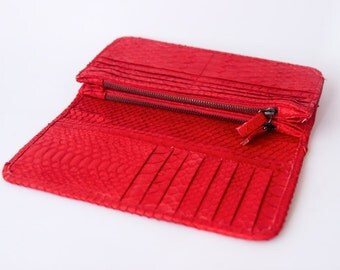 Red - Genuine Python snakeskin double fold wallet