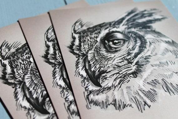 Postal de búho x 1 búho cornudo Sketch de búho por illustratorlaura