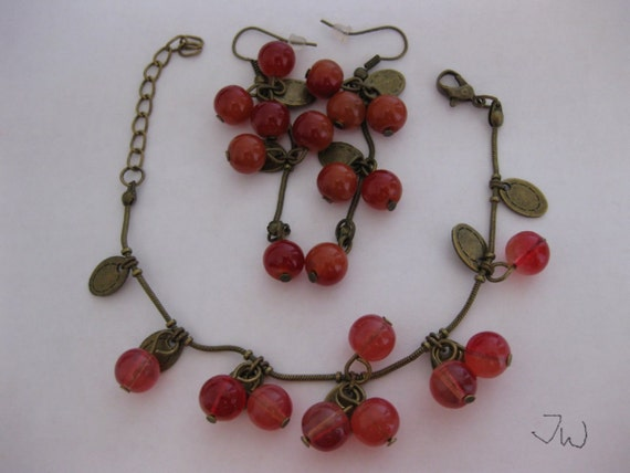 Red Sweet Cherry Crystal Jewelry Set