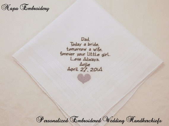 Wedding Gift For Brides Father : Wedding Gift for Father of the Bride Personalized Handkerchiefs For ...