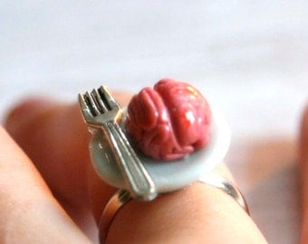 brain with fork creepy  adjustable ring miniature food jewelry