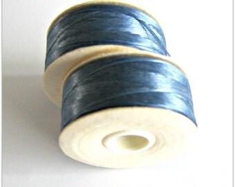 Royal Blue Thread, Beading Thread,  Nylon Thread, Nymo Thread, size D Thread, 2 Bobbins, Blue, Sewing Thread, Beadweaving Thread Item #305